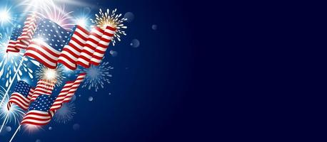 American flag with fireworks and copy space