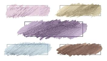 Pastel color paint brush stroke with frame set vector