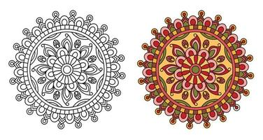 Rounded Ornamental Mandala for Colouring