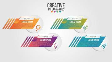 Gradient infographic elements with business icons