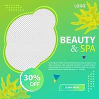plantilla de promoción de redes sociales de belleza y spa vector