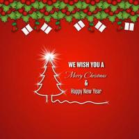 Merry Christmas and Happy New Year design on red