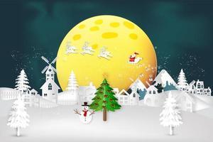 Night Christmas winter scene with Santa on sleigh vector