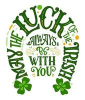 St. Patrick's Day typography quote in horseshoe design