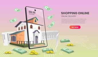 Mobile shopping landing page with money falling on home