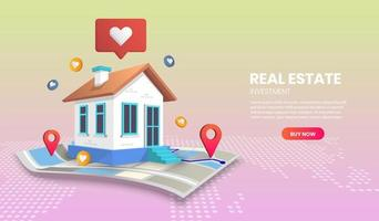 Real estate landing page with home on map vector