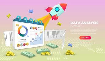 Data analysis landing page with rocket and charts