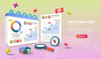 Data analysis landing page with charts vector
