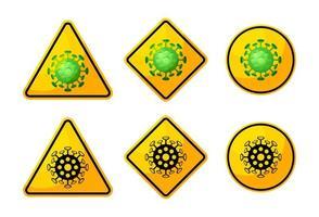 Bacteria or virus warning sign set vector