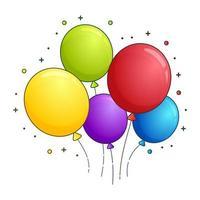 conjunto de globos coloridos dibujos animados estilo vector