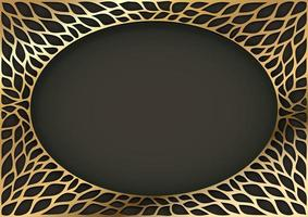 Golden decorative vintage oval frame vector