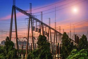 High Voltage electric substation with transformers photo