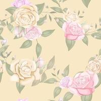 Pink and yellow rose seamless pattern