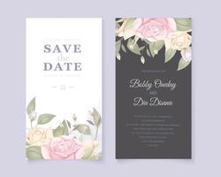 Top and bottom rose border save the date