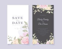 White and black save the date with roses