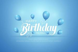 Birthday greeting card with blue balloons  vector