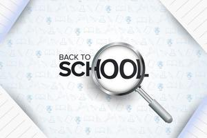 Cartel de regreso a la escuela con lupa