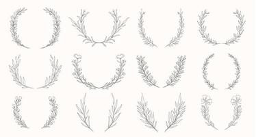 Plant nature wreath hand drawn set vector