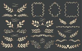 Natural gold botanical frames and borders set vector