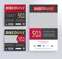 Red and Black Discount Voucher Template Set