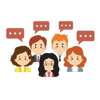 Businessmen and Women with Speech Bubbles vector