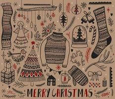 Set of hand drawn Christmas design elements