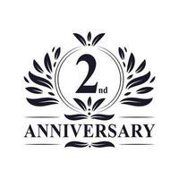 Logotipo del segundo aniversario vector