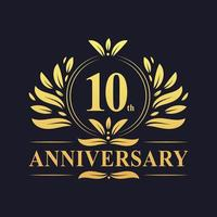 Logotipo del décimo aniversario vector