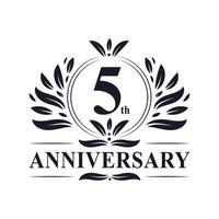 Logotipo del quinto aniversario vector