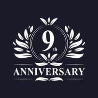 Logotipo del noveno aniversario vector