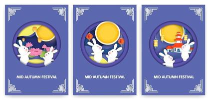 Mid autumn festival cards set  vector