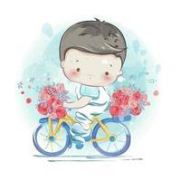 A Boy on Bike with Flowers vector