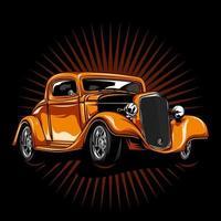 hot rod vintage orange vecteur