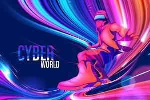 Cyber light streaks theme design vector