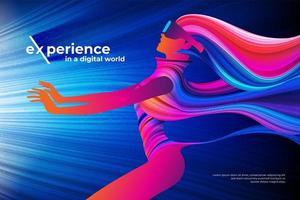Digital world theme design vector