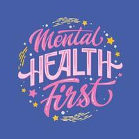 frase desenhada de primeira mão de saúde mental