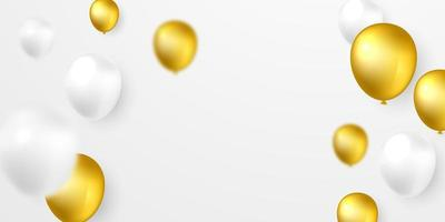 White and gold helium balloon background
