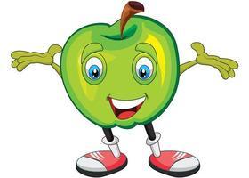 manzana de dibujos animados con cara vector