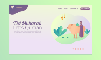 Eid Al Adha Landing Page with man and cow vector