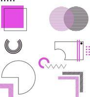 Purple and Black Geometric Design Elements vector