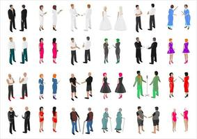 Isometric set of different people vector