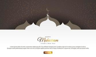 Islamic New Year Design with Mosque Silhouettes