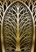 Golden forged tree gate vector