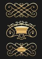 Vintage gold vignette or forged lattice set vector