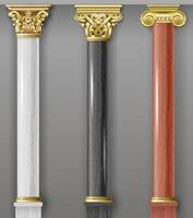 Set of classic white, black and red columns