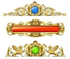 conjunto de decoración clásica de oro arquitectónico vector