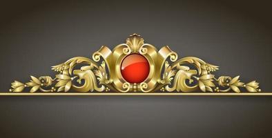 ornamento de ouro clássico com jóia vermelha vetor