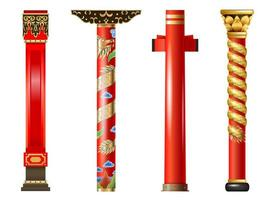 Set of red oriental columns vector