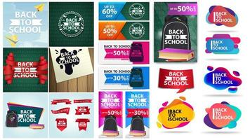 Back to school poster and banner set vector
