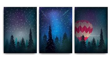 Collection of pine forest night landscape covers vector